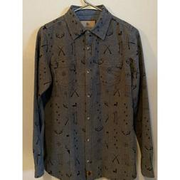 Legendary Whitetails Mens Gray Button Down Chamois Flannel S