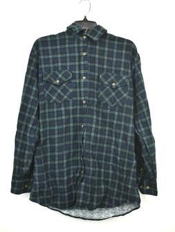 Alexander Del Rossa Mens Green Plaid Button Front Cotton Lon