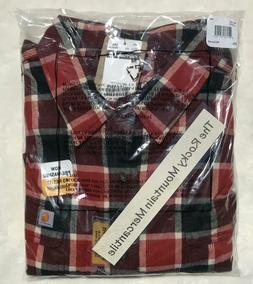 Carhartt Mens Hubbard Plaid Flannel Shirt CHILI RED msrp $48