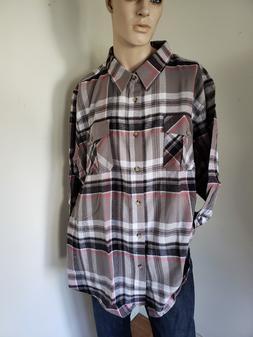 Mens King Size 100% Cotton Flannel Shirt Gray NIP Medium Wei