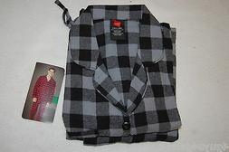 Mens L/S FLANNEL PAJAMAS SET Button Front Shirt BLACK GRAY C