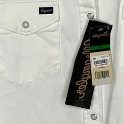 Wrangler Men's Large White Pearl Snap Western Long Sleeve