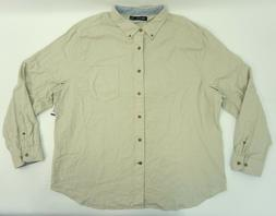 Nautica Mens Long Sleeve Button Down Flannel Shirt Beige Coa