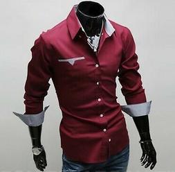 Mens Long Sleeve Fit Cotton Slim Doublju Flannel Button Down