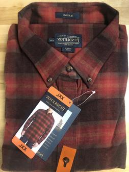 NEW Pendleton Mens Long Sleeve Flannel Mason Shirt Size XXL