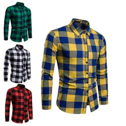 Mens Long Sleeve Formal Shirt Work Tops Stylish Warm Plaid S