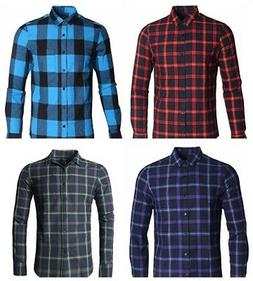 Mens Long Sleeve Plaid Flannel Casual Shirts Checked Button