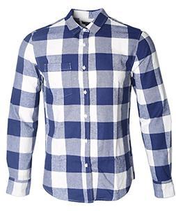 NUTEXROL Mens Long Sleeve Plaid Flannel Casual Shirts Checke