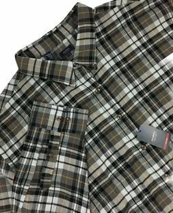 Arrow Men's Long Sleeve Saranac Flannel Shirt Cotton Gray-