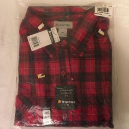 Carhartt Mens Long Sleeve Shirt Red Black Plaid 100% Cotton