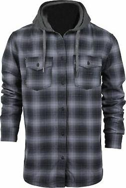 Quiksilver Mens Long Sleeve Snap Up Flannel Hoodie Shirt - Q