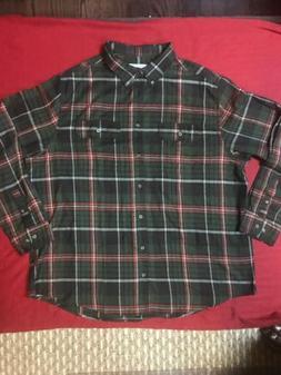 Mott And Grand Mens LS Plaid Flannel Button Up Shirt Sz 3XL