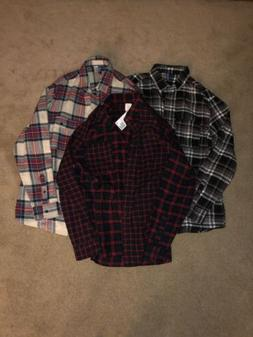 Men's M Medium Lot Of 3 H&M Divided Multicolored Tartan Pl
