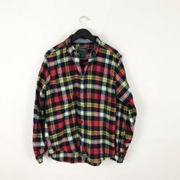 Woolrich Mens Medium Shirt Flannel Plaid Red Yellow Blue But
