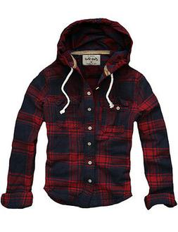 Mens CALI HOLI Muscle Fit Check Hoodie Shirt  Flannel Shirt