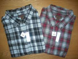 Mens NWT Flannel Shirts SET of 2 BIG TALL Black-White & Red-