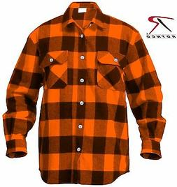 Mens Orange & Black Buffalo Plaid Flannel Shirt - Cotton Ext