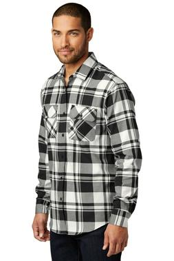Mens Plaid Flannel Plus Size Shirt Chest Pockets Checkered C