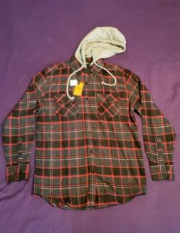 Mens Plaid Flannel Shirt Long Sleeves Button Front Check Hoo