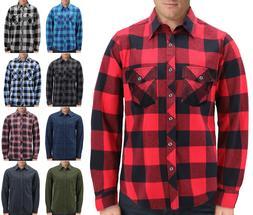 Men's Plaid  Long Sleeve Button Up Premium Cotton Comforta