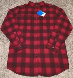 Men's COLUMBIA Red & Black Plaid LS Brushed Cotton Flannel