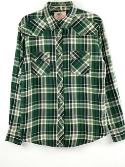 Mens Wrangler Shirt Green Brown Plaid Med Flannel Pearl Snap