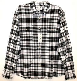 Lucky Brand Mens Size M Black White Plaid Flannel Button-Fro