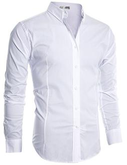 Ohoo Mens Slim Fit Long Sleeve Flexibility Casual Button Dow