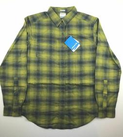 Columbia Mens small green yellow plaid boulder ridge brushed