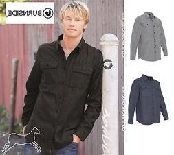 mens solid long sleeve flannel shirt b8200
