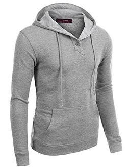 Doublju Mens Trendy Comfortable Long Sleeve Pullover Hoodie