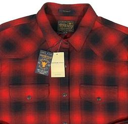 Lucky Brand Mens Western Snap Flannel Shirt XL Buffalo Plaid