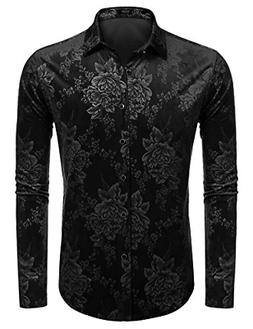 Coofandy Mens Winter Thermal Fleece Floral Long Sleeve Butto