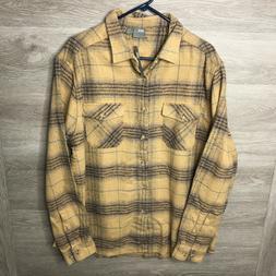 Asos Mens XL Tan Button Front Flannel Western Barn Shirt NEW
