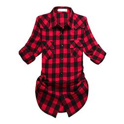 Women's Mid-Long Roll Up Sleeve Plaid Flannel Shirt G056 Bla