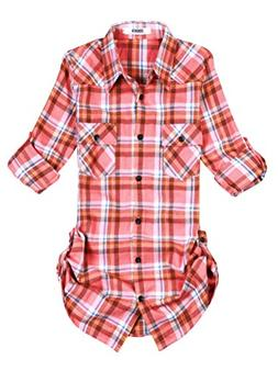 roll sleeve flannel plaid shirt