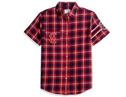 KLEW MLB Men's Boston Red Sox Wordmark Flannel Short Sleeve
