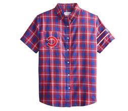 KLEW MLB Men's Chicago Cubs Wordmark Flannel Short Sleeve Bu