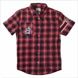 KLEW MLB Men's St. Louis Cardinals Wordmark Flannel Short Sl