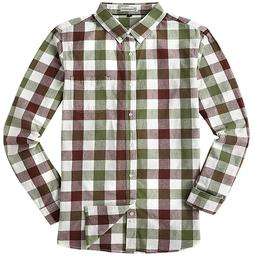 MOCOTONO Mens Long Sleeve Plaid Checked Button Down Cotton C