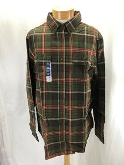 NEW GEORGE 2XL PLAID FLANNEL SHIRT BUTTON DOWN COTTON BROWN/