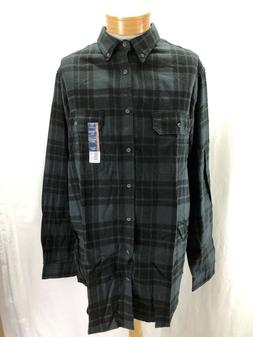 NEW GEORGE 2XLT PLAID FLANNEL SHIRT BUTTON DOWN COTTON BLACK
