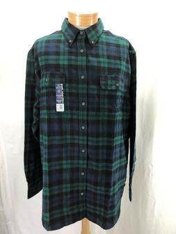 NEW GEORGE 3XL PLAID FLANNEL SHIRT BUTTON DOWN COTTON NAVY/G