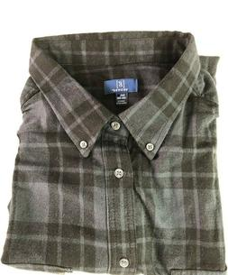 NEW GEORGE 3XL PLAID FLANNEL SHIRT BUTTON DOWN COTTON BLACK/