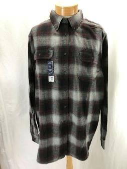 NEW GEORGE 3XLT PLAID FLANNEL SHIRT BUTTON DOWN COTTON WINE/