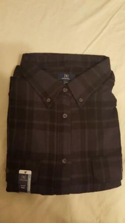 NEW GEORGE 3XLT PLAID FLANNEL SHIRT BUTTON DOWN COTTON BLACK