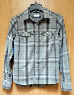 NEW $65 Silver Ridge Ombre Grey Window Plaid Flannel Long Sl