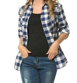 Zeagoo NEW Blue Women's Size Large L Plaid Flannel Button Do