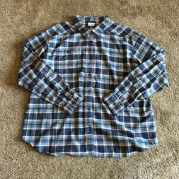 NEW COLUMBIA Cornell Woods Blue Plaid Flannel Long-Sleeve Sh
