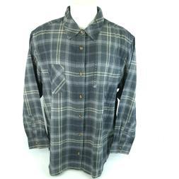 NEW Field & Stream Mens 2XL XXL Grey Plaid Flannel Button Up